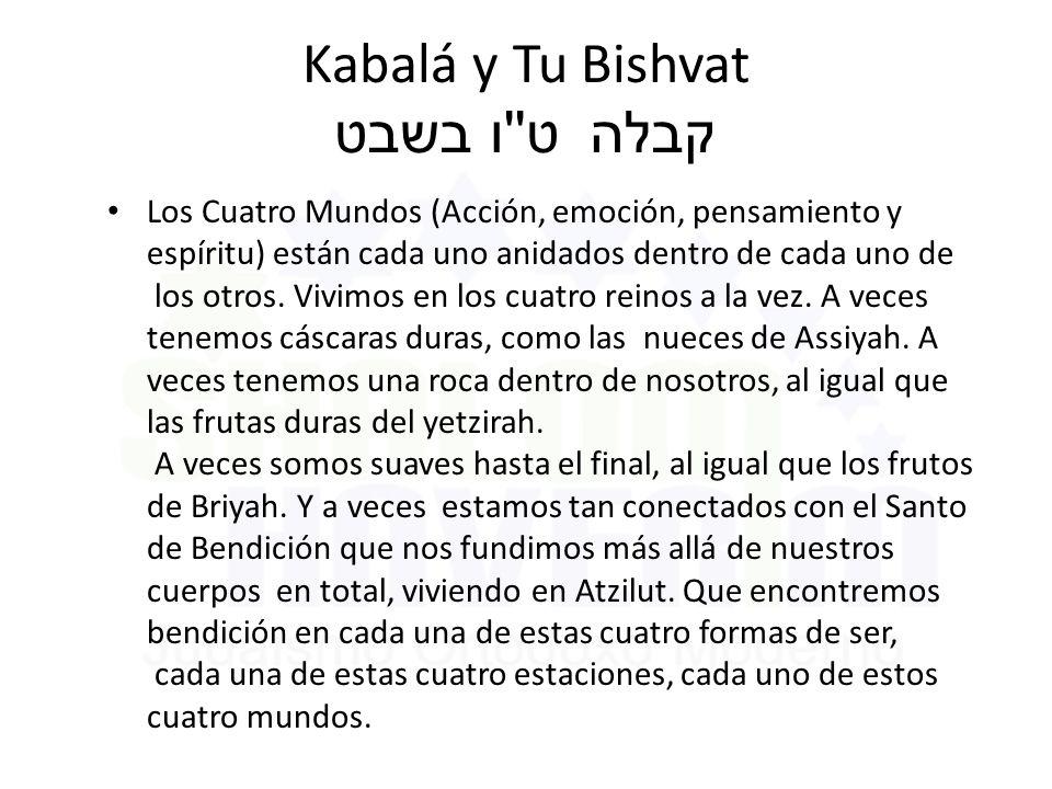 Kabalá y Tu Bishvat ט ו בשבט קבלה Los Cuatro Mundos (Acción, emoción, pensamiento y espíritu) están cada uno anidados dentro de cada uno de los otros.