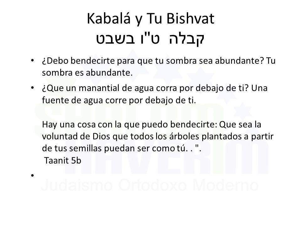 Kabalá y Tu Bishvat ט ו בשבט קבלה ¿Debo bendecirte para que tu sombra sea abundante.