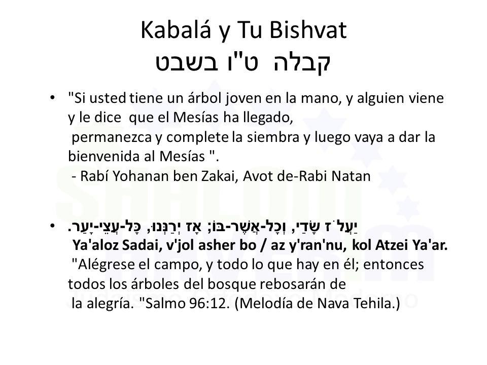Kabalá y Tu Bishvat ט ו בשבט קבלה Si usted tiene un árbol joven en la mano, y alguien viene y le dice que el Mesías ha llegado, permanezca y complete la siembra y luego vaya a dar la bienvenida al Mesías .