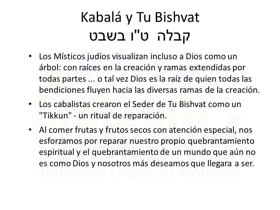 Kabalá y Tu Bishvat ט ו בשבט קבלה Los Místicos judíos visualizan incluso a Dios como un árbol: con raíces en la creación y ramas extendidas por todas partes...