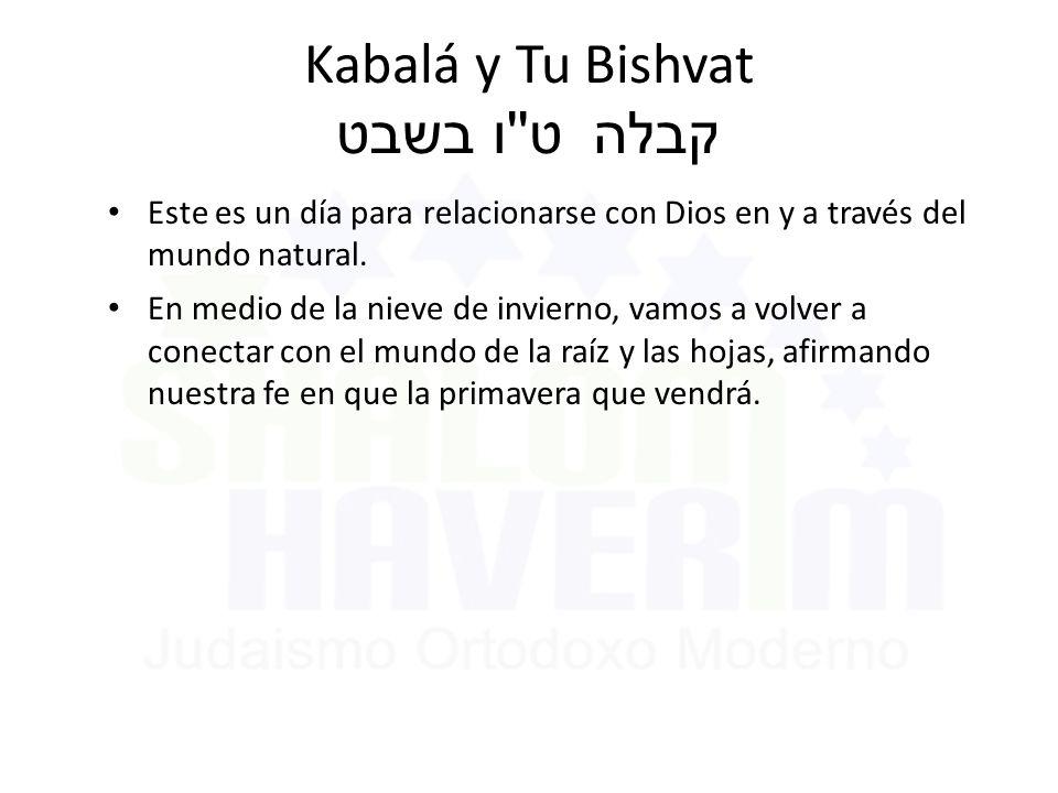 Kabalá y Tu Bishvat ט ו בשבט קבלה Este es un día para relacionarse con Dios en y a través del mundo natural.