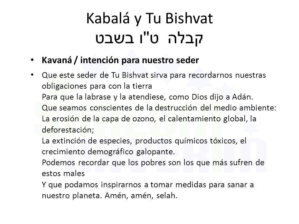 Kabalá y Tu Bishvat ט ו בשבט קבלה Kavaná / intención para nuestro seder Que este seder de Tu Bishvat sirva para recordarnos nuestras obligaciones para con la tierra Para que la labrase y la atendiese, como Dios dijo a Adán.