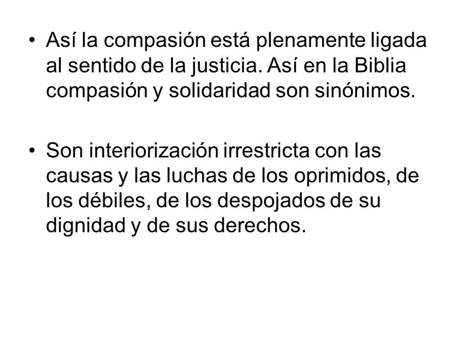 Así la compasión está plenamente ligada al sentido de la justicia.