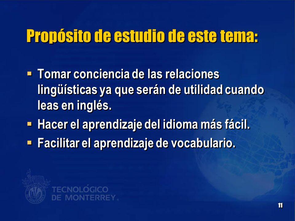 11 Propósito de estudio de este tema:  Tomar conciencia de las relaciones lingüísticas ya que serán de utilidad cuando leas en inglés.