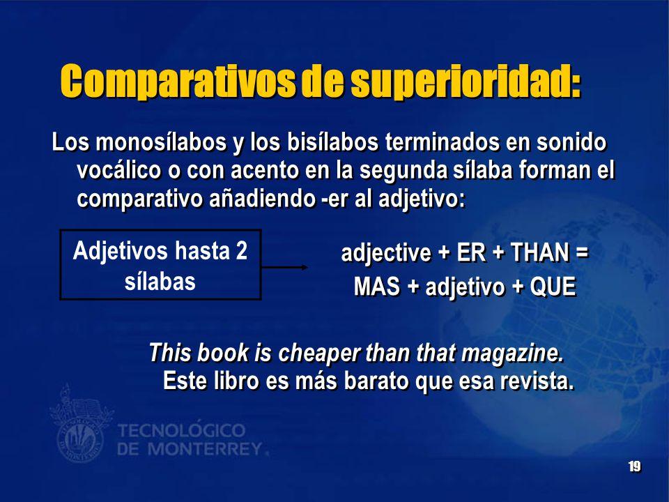 19 Comparativos de superioridad: Adjetivos hasta 2 sílabas adjective + ER + THAN = MAS + adjetivo + QUE adjective + ER + THAN = MAS + adjetivo + QUE Los monosílabos y los bisílabos terminados en sonido vocálico o con acento en la segunda sílaba forman el comparativo añadiendo -er al adjetivo: This book is cheaper than that magazine.