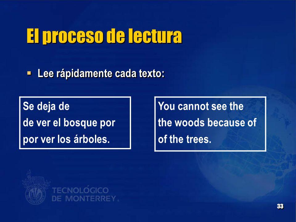 33 El proceso de lectura  Lee rápidamente cada texto: Se deja de de ver el bosque por por ver los árboles.