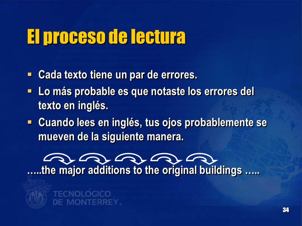 34 El proceso de lectura  Cada texto tiene un par de errores.