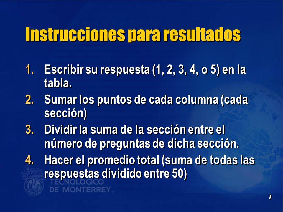 7 Instrucciones para resultados 1.Escribir su respuesta (1, 2, 3, 4, o 5) en la tabla.