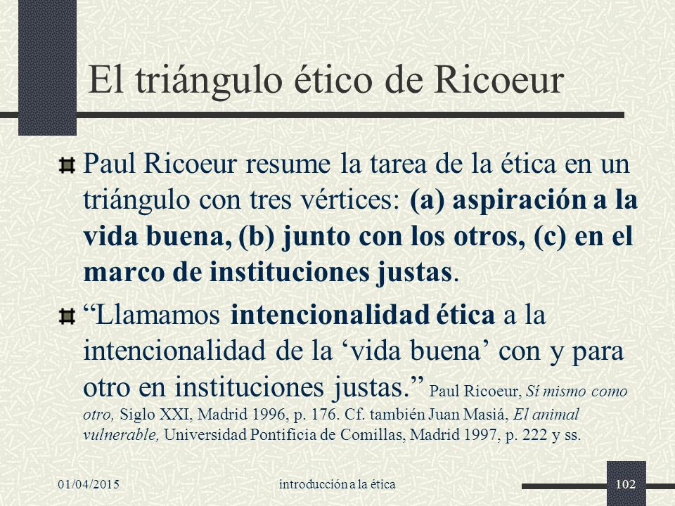 01/04/2015introducción a la ética102 El triángulo ético de Ricoeur Paul Ricoeur resume la tarea de la ética en un triángulo con tres vértices: (a) aspiración a la vida buena, (b) junto con los otros, (c) en el marco de instituciones justas.