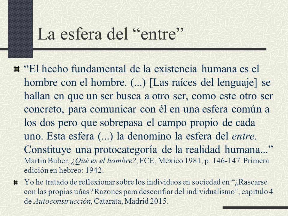 La esfera del entre El hecho fundamental de la existencia humana es el hombre con el hombre.