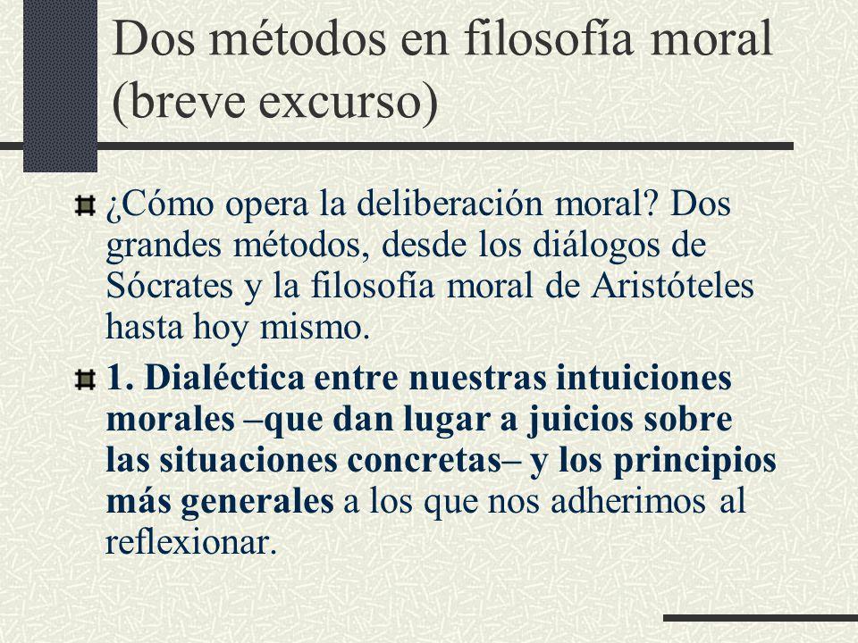 Dos métodos en filosofía moral (breve excurso) ¿Cómo opera la deliberación moral.
