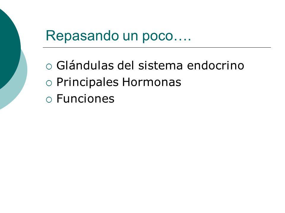Repasando un poco….  Glándulas del sistema endocrino  Principales Hormonas  Funciones