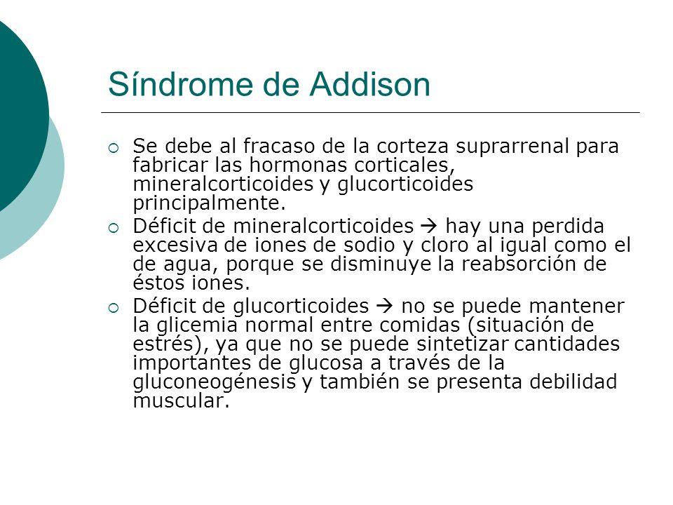 Síndrome de Addison  Se debe al fracaso de la corteza suprarrenal para fabricar las hormonas corticales, mineralcorticoides y glucorticoides principalmente.
