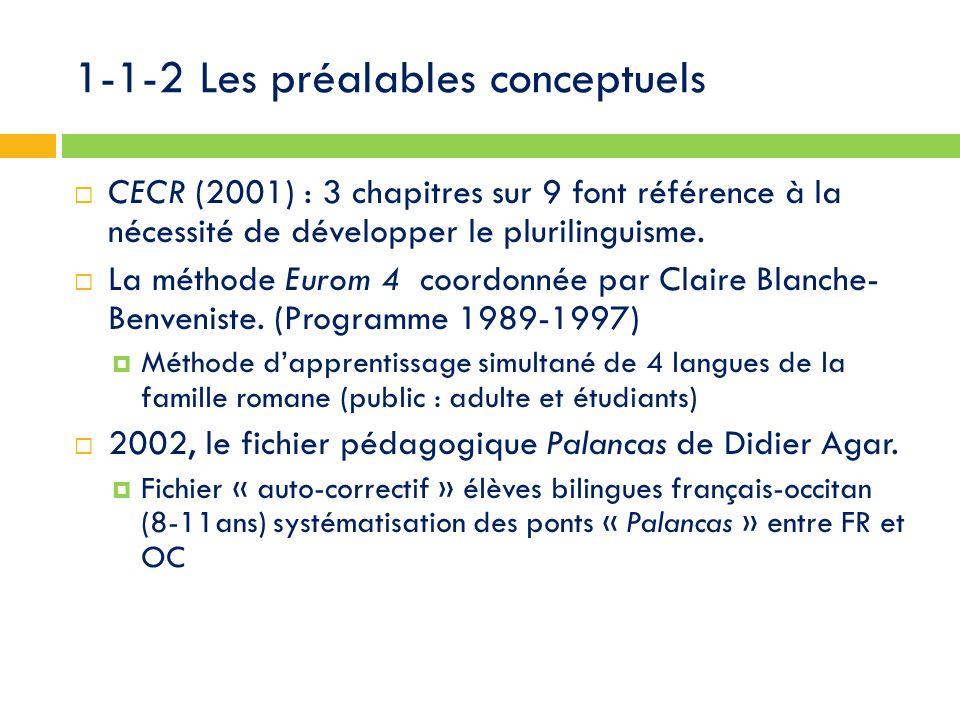 1-1-2 Les préalables conceptuels  CECR (2001) : 3 chapitres sur 9 font référence à la nécessité de développer le plurilinguisme.