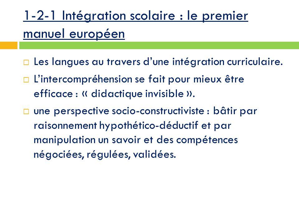 1-2-1 Intégration scolaire : le premier manuel européen  Les langues au travers d'une intégration curriculaire.