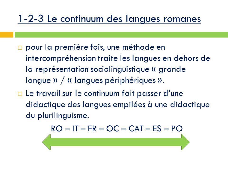 1-2-3 Le continuum des langues romanes  pour la première fois, une méthode en intercompréhension traite les langues en dehors de la représentation sociolinguistique « grande langue » / « langues périphériques ».