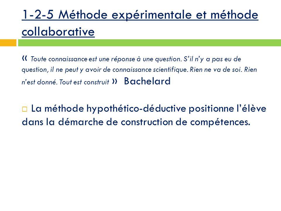 1-2-5 Méthode expérimentale et méthode collaborative « Toute connaissance est une réponse à une question.
