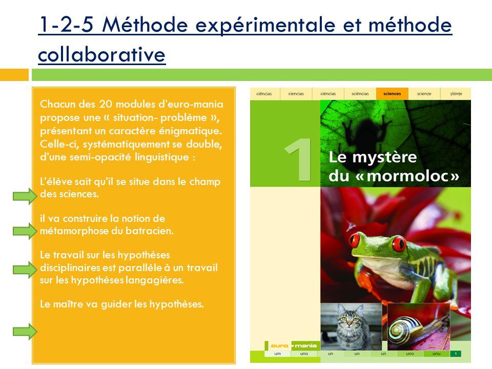 1-2-5 Méthode expérimentale et méthode collaborative Chacun des 20 modules d'euro-mania propose une « situation- problème », présentant un caractère énigmatique.
