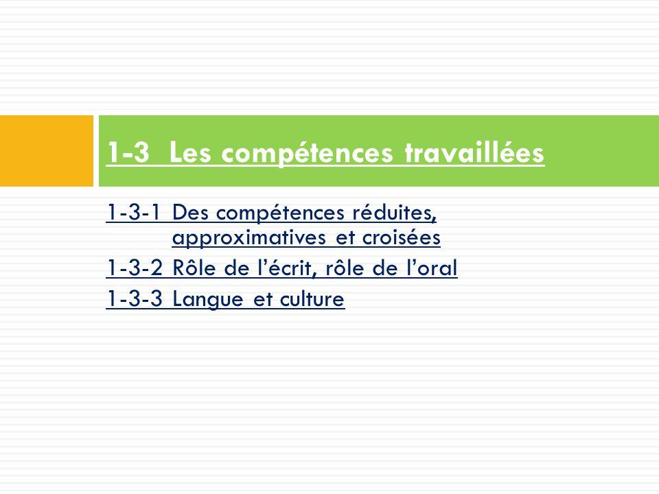 1-3-1 Des compétences réduites, approximatives et croisées 1-3-2 Rôle de l'écrit, rôle de l'oral 1-3-3 Langue et culture 1-3 Les compétences travaillées