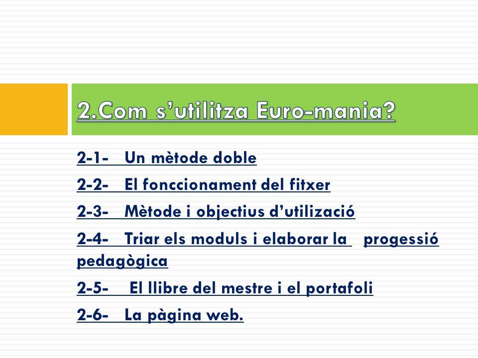 2-1- Un mètode doble 2-2- El fonccionament del fitxer 2-3- Mètode i objectius d'utilizació 2-4- Triar els moduls i elaborar la progessió pedagògica 2-5- El llibre del mestre i el portafoli 2-6- La pàgina web.