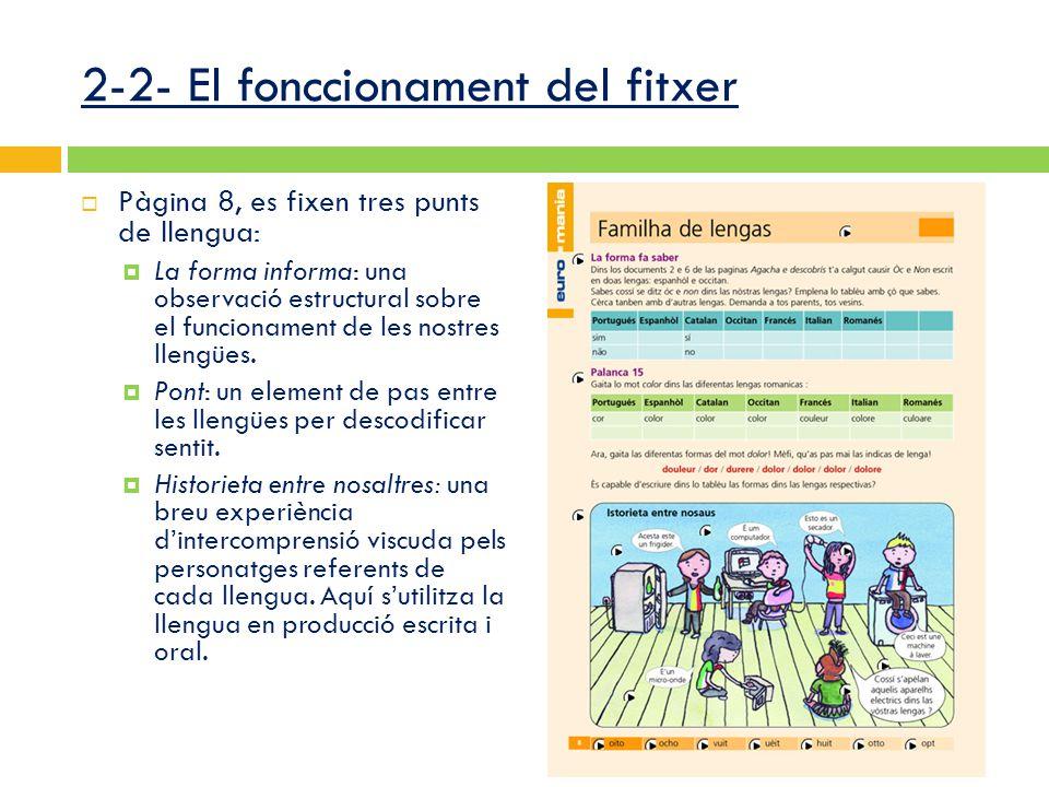 2-2- El fonccionament del fitxer  Pàgina 8, es fixen tres punts de llengua:  La forma informa: una observació estructural sobre el funcionament de les nostres llengües.