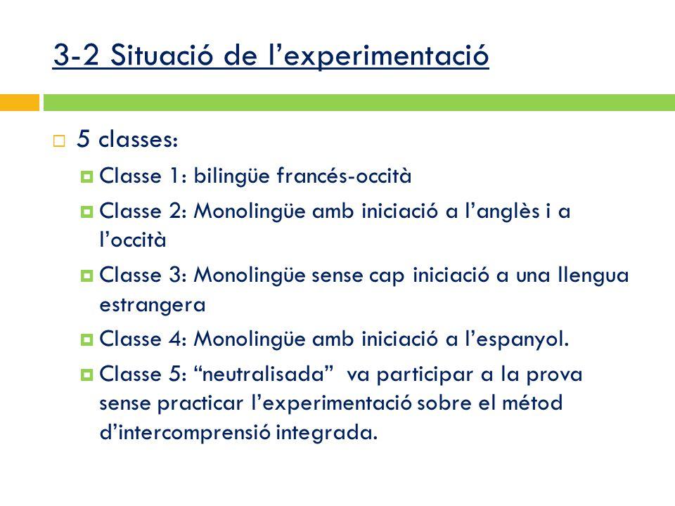 3-2 Situació de l'experimentació  5 classes:  Classe 1: bilingüe francés-occità  Classe 2: Monolingüe amb iniciació a l'anglès i a l'occità  Classe 3: Monolingüe sense cap iniciació a una llengua estrangera  Classe 4: Monolingüe amb iniciació a l'espanyol.