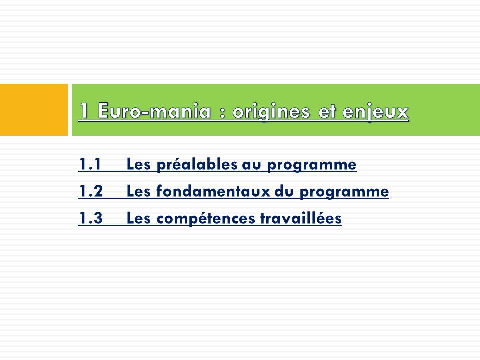 1.1 Les préalables au programme 1.2 Les fondamentaux du programme 1.3 Les compétences travaillées