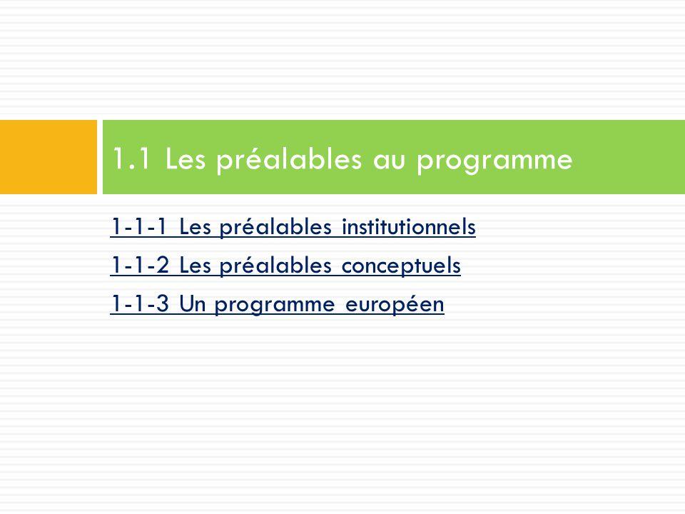 1-1-1 Les préalables institutionnels 1-1-2 Les préalables conceptuels 1-1-3 Un programme européen 1.1 Les préalables au programme