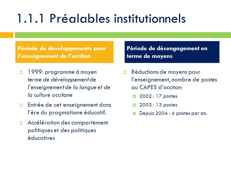 1.1.1 Préalables institutionnels  1999: programme à moyen terme de développement de l'enseignement de la langue et de la culture occitane  Entrée de cet enseignement dans l'ère du pragmatisme éducatif.
