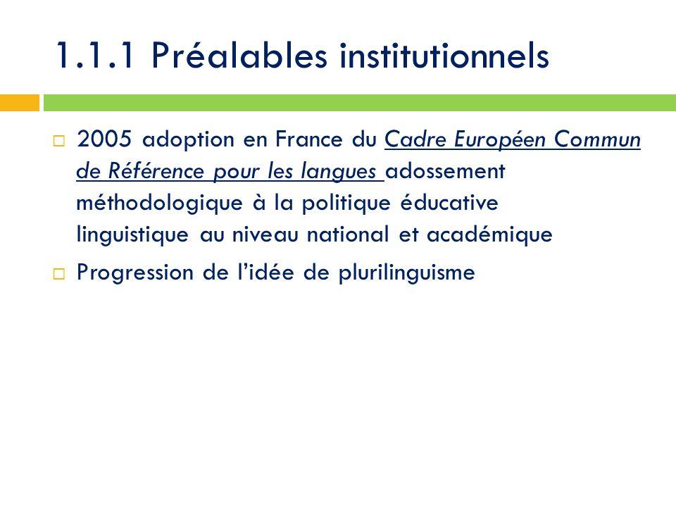 1.1.1 Préalables institutionnels  2005 adoption en France du Cadre Européen Commun de Référence pour les langues adossement méthodologique à la politique éducative linguistique au niveau national et académique  Progression de l'idée de plurilinguisme