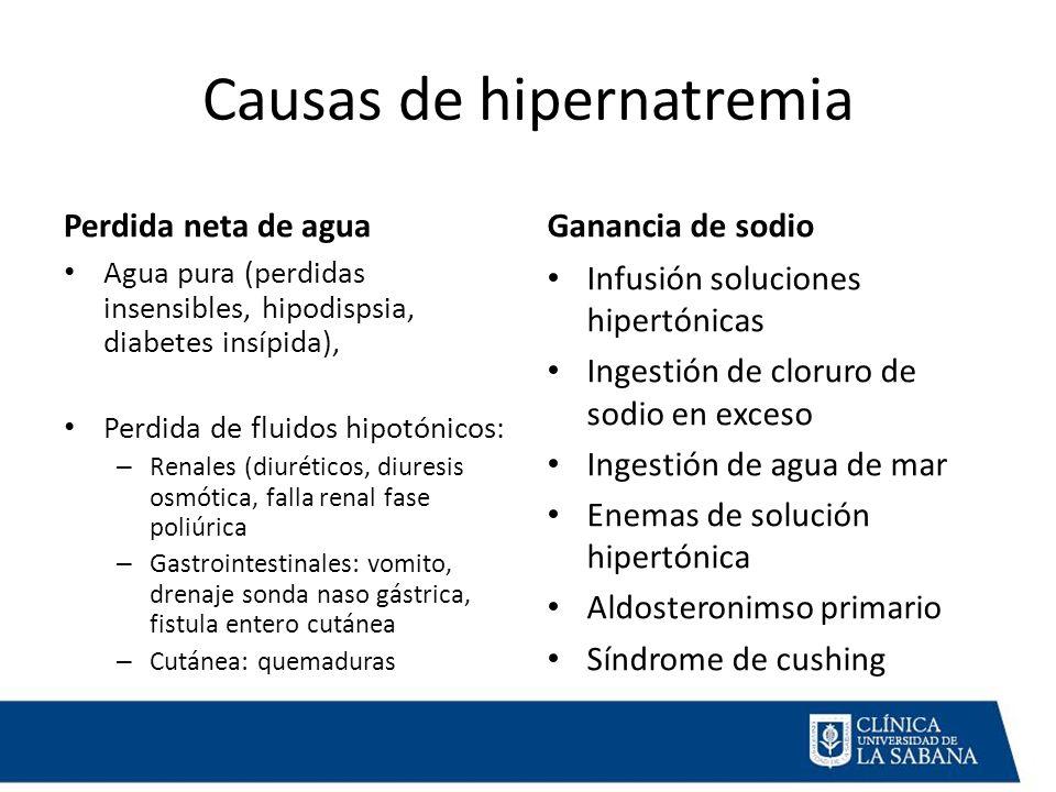 Causas de hipernatremia Perdida neta de agua Agua pura (perdidas insensibles, hipodispsia, diabetes insípida), Perdida de fluidos hipotónicos: – Renales (diuréticos, diuresis osmótica, falla renal fase poliúrica – Gastrointestinales: vomito, drenaje sonda naso gástrica, fistula entero cutánea – Cutánea: quemaduras Ganancia de sodio Infusión soluciones hipertónicas Ingestión de cloruro de sodio en exceso Ingestión de agua de mar Enemas de solución hipertónica Aldosteronimso primario Síndrome de cushing
