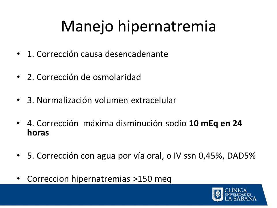 Manejo hipernatremia 1.Corrección causa desencadenante 2.