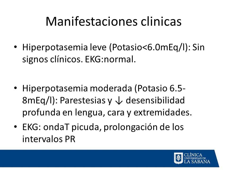 Manifestaciones clinicas Hiperpotasemia leve (Potasio<6.0mEq/l): Sin signos clínicos.