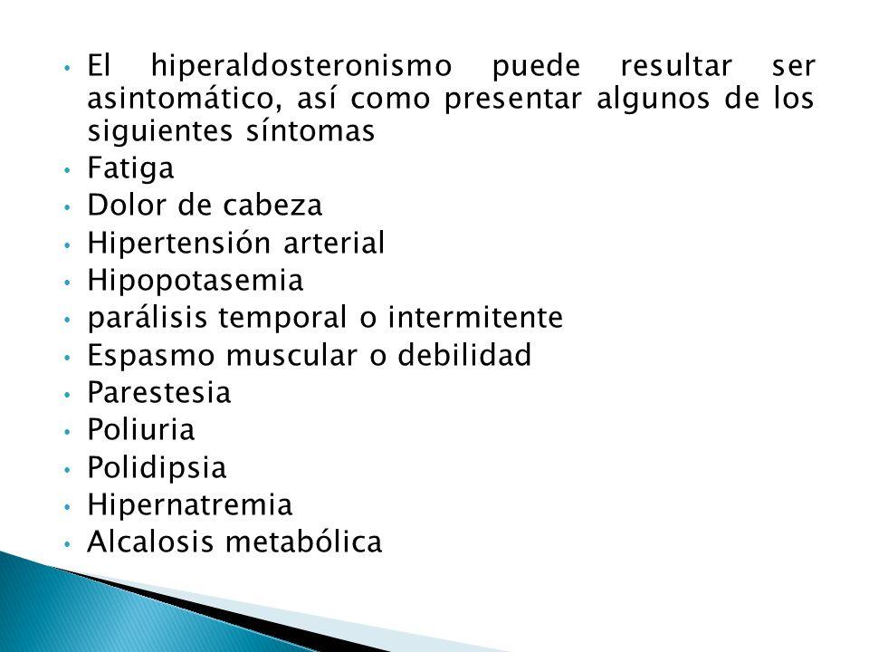 El hiperaldosteronismo puede resultar ser asintomático, así como presentar algunos de los siguientes síntomas Fatiga Dolor de cabeza Hipertensión arterial Hipopotasemia parálisis temporal o intermitente Espasmo muscular o debilidad Parestesia Poliuria Polidipsia Hipernatremia Alcalosis metabólica