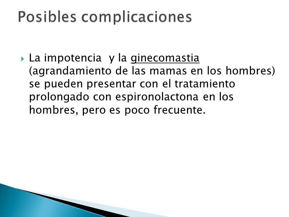  La impotencia y la ginecomastia (agrandamiento de las mamas en los hombres) se pueden presentar con el tratamiento prolongado con espironolactona en los hombres, pero es poco frecuente.