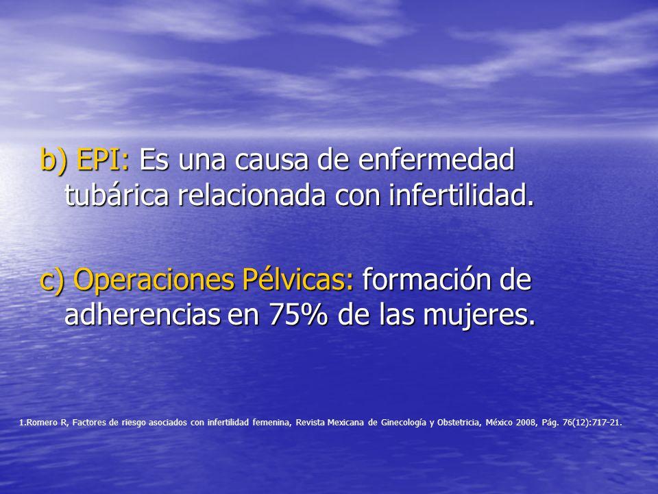 b) EPI: Es una causa de enfermedad tubárica relacionada con infertilidad.