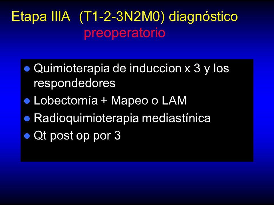 Etapa IIIA (T1-2-3N2M0) diagnóstico preoperatorio Quimioterapia de induccion x 3 y los respondedores Lobectomía + Mapeo o LAM Radioquimioterapia mediastínica Qt post op por 3
