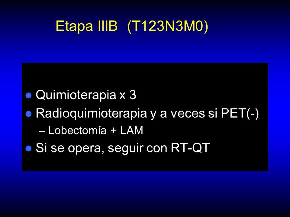 Etapa IIIB (T123N3M0) Quimioterapia x 3 Radioquimioterapia y a veces si PET(-) – Lobectomía + LAM Si se opera, seguir con RT-QT