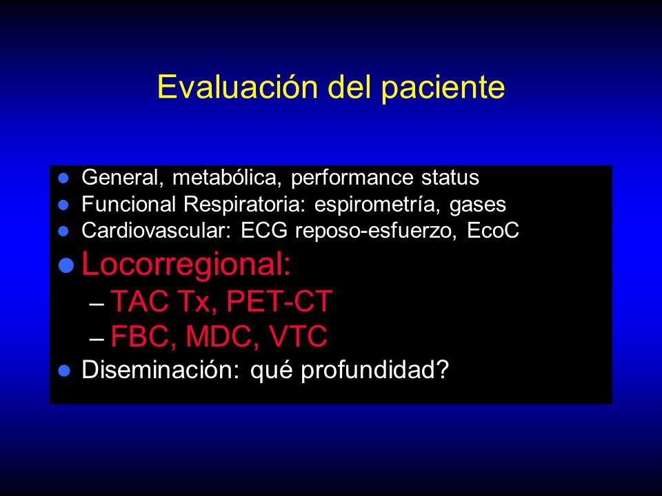 Evaluación del paciente General, metabólica, performance status Funcional Respiratoria: espirometría, gases Cardiovascular: ECG reposo-esfuerzo, EcoC Locorregional: – TAC Tx, PET-CT – FBC, MDC, VTC Diseminación: qué profundidad