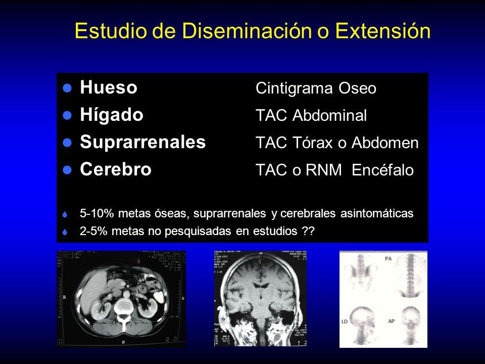 Estudio de Diseminación o Extensión Hueso Cintigrama Oseo Hígado TAC Abdominal Suprarrenales TAC Tórax o Abdomen Cerebro TAC o RNM Encéfalo S 5-10% metas óseas, suprarrenales y cerebrales asintomáticas S 2-5% metas no pesquisadas en estudios