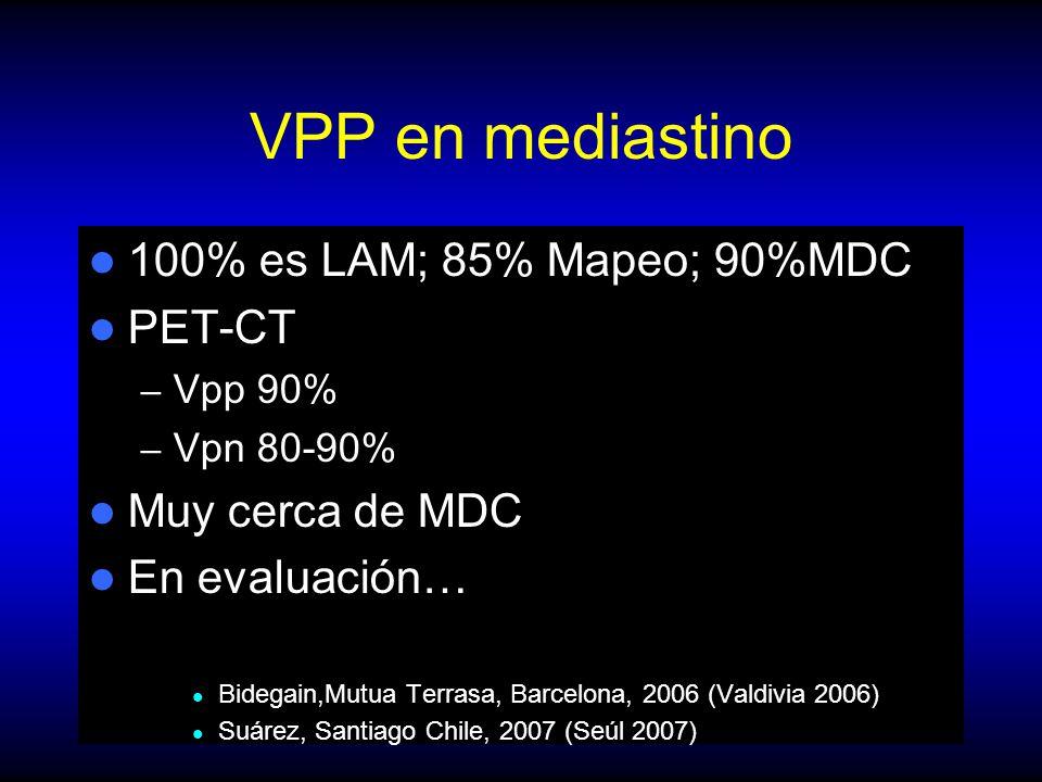 VPP en mediastino 100% es LAM; 85% Mapeo; 90%MDC PET-CT – Vpp 90% – Vpn 80-90% Muy cerca de MDC En evaluación… Bidegain,Mutua Terrasa, Barcelona, 2006 (Valdivia 2006) Suárez, Santiago Chile, 2007 (Seúl 2007)