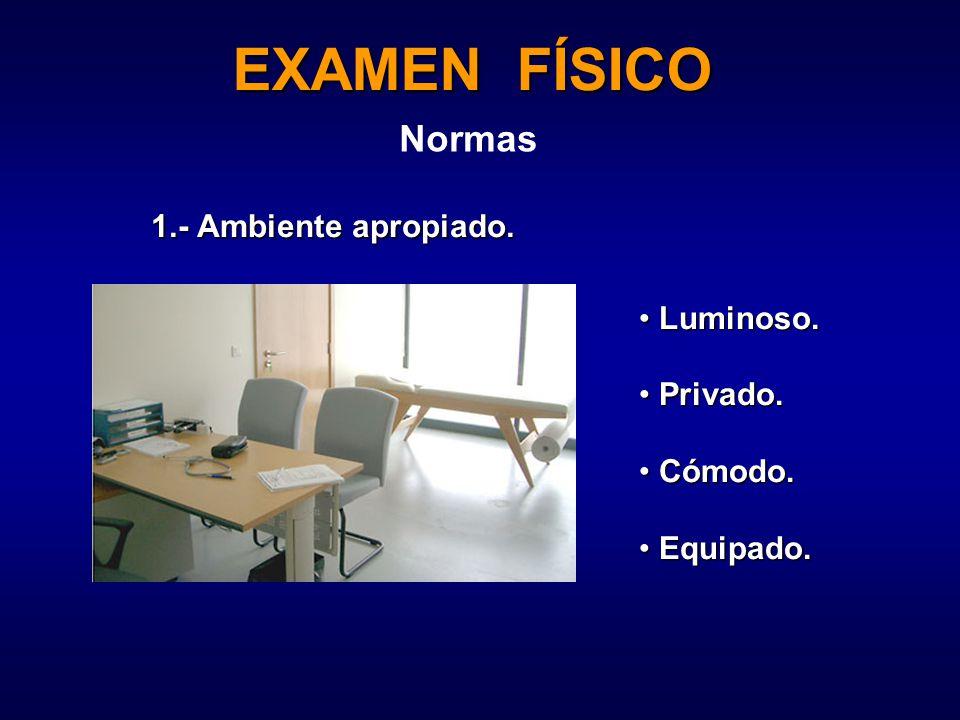 EXAMEN FÍSICO Normas Luminoso. Luminoso. Privado.