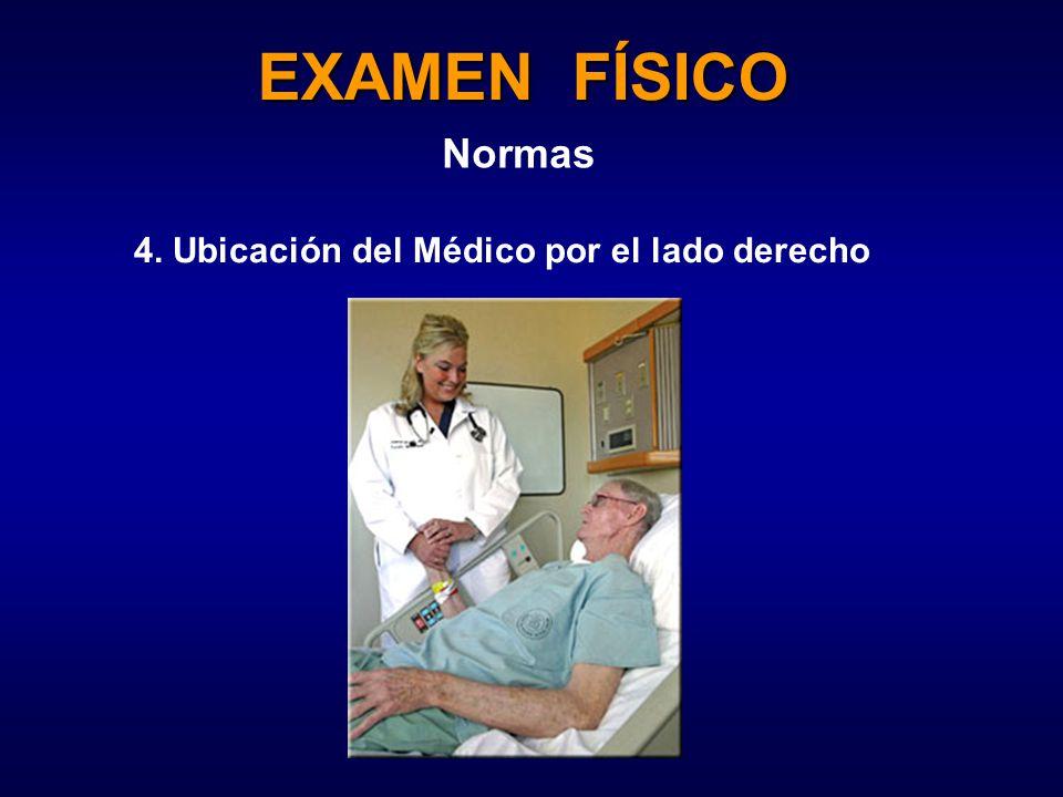 EXAMEN FÍSICO Normas 4. Ubicación del Médico por el lado derecho