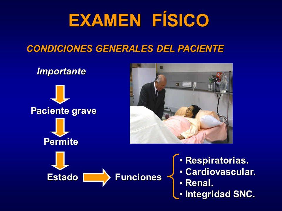 EXAMEN FÍSICO CONDICIONES GENERALES DEL PACIENTE Importante Paciente grave Permite EstadoFunciones Respiratorias.