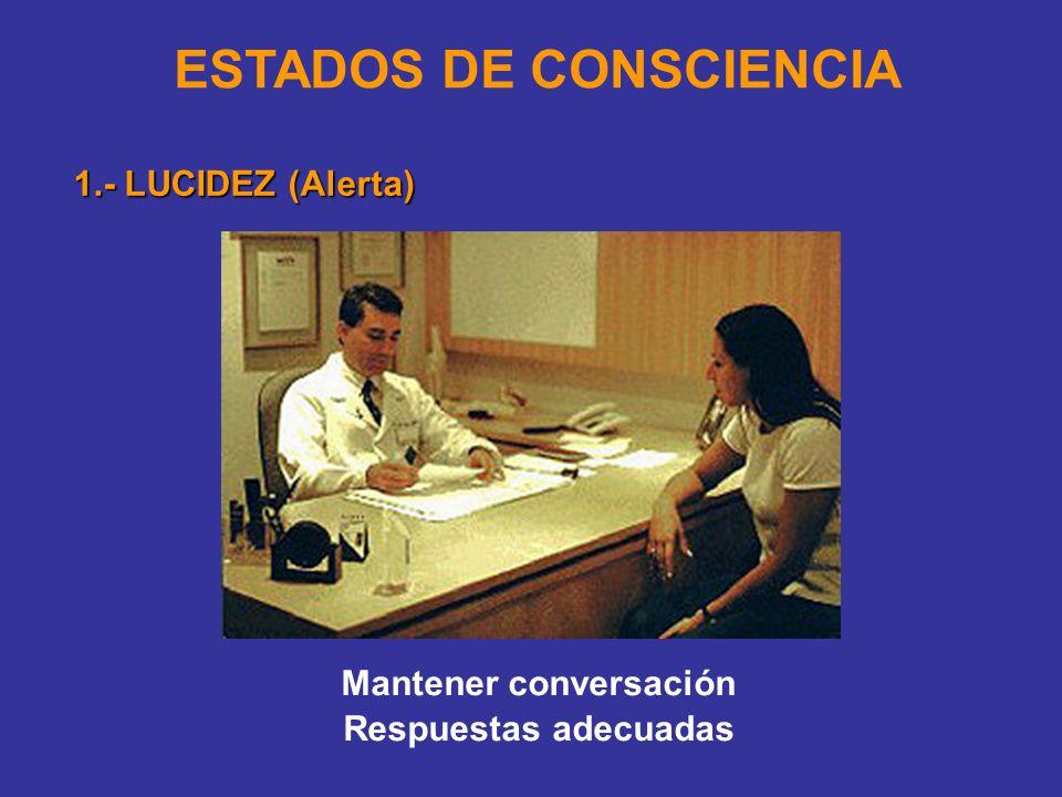 ESTADOS DE CONSCIENCIA 1.- LUCIDEZ (Alerta) Mantener conversación Respuestas adecuadas