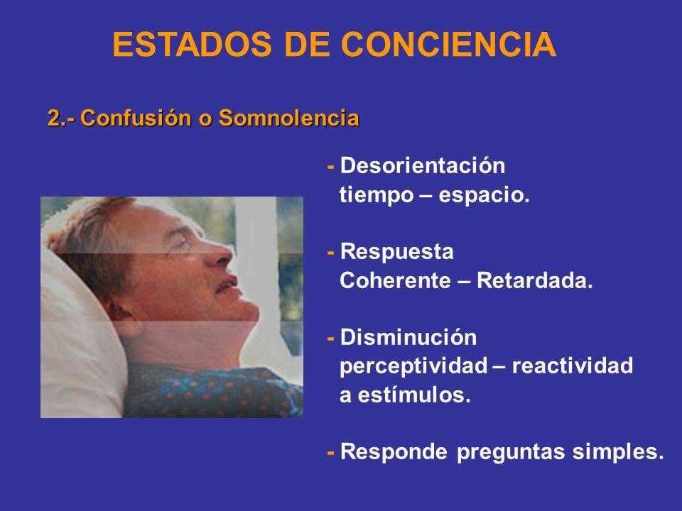 ESTADOS DE CONCIENCIA 2.- Confusión o Somnolencia - Desorientación tiempo – espacio.