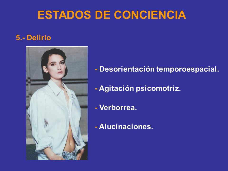 ESTADOS DE CONCIENCIA 5.- Delirio - Desorientación temporoespacial.