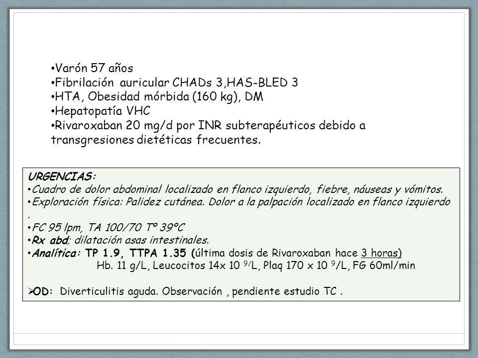 Varón 57 años Fibrilación auricular CHADs 3,HAS-BLED 3 HTA, Obesidad mórbida (160 kg), DM Hepatopatía VHC Rivaroxaban 20 mg/d por INR subterapéuticos debido a transgresiones dietéticas frecuentes.