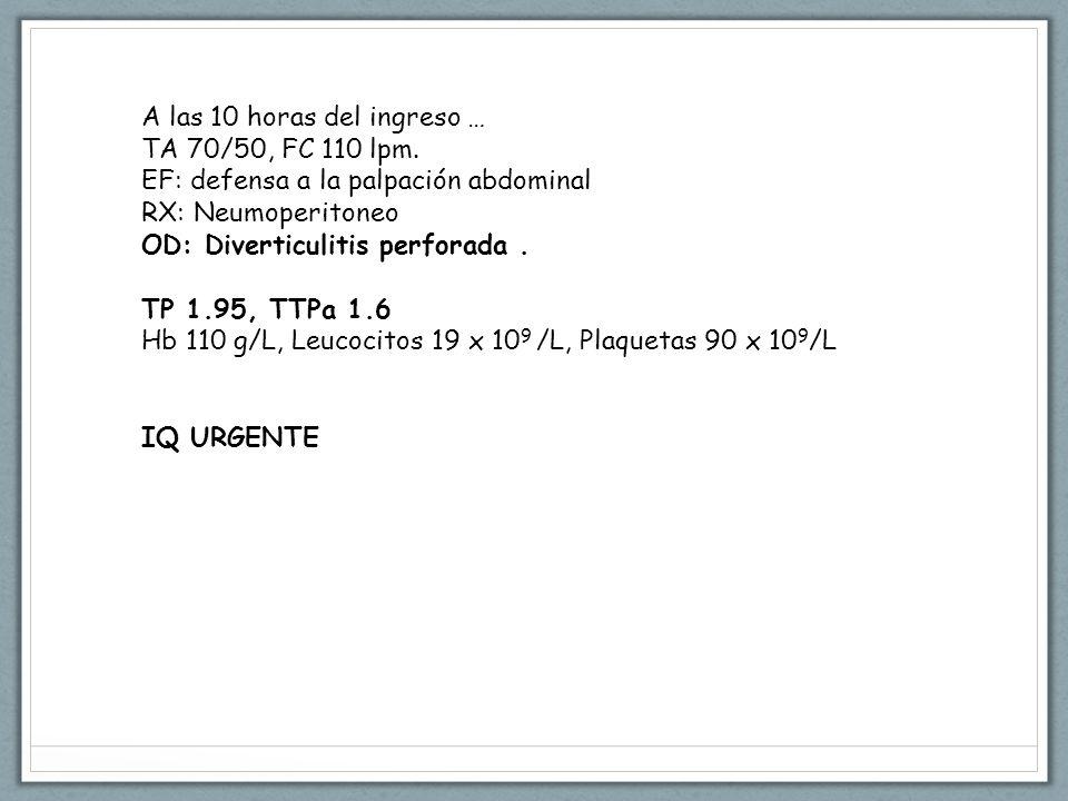 A las 10 horas del ingreso … TA 70/50, FC 110 lpm.