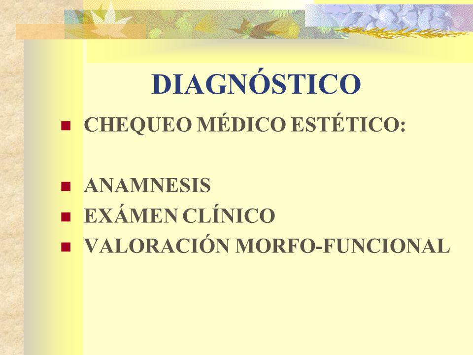 DIAGNÓSTICO CHEQUEO MÉDICO ESTÉTICO: ANAMNESIS EXÁMEN CLÍNICO VALORACIÓN MORFO-FUNCIONAL